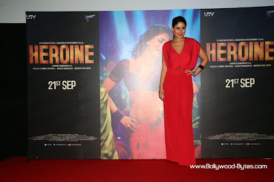 Kareena Kapoor have used red lipstick matching with the clothes at Heroine Movie Trailer launch