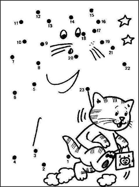 Dibujo de Gato para unir con puntos y colorear ~ 4 Dibujo