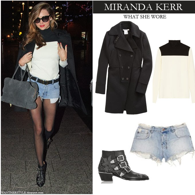 Miranda Kerr in black coat, cut off denim shorts, two tone sweater and studded ankle boots Want Her Style