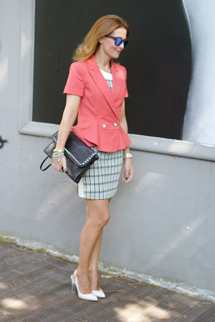 Apricot peplum blazer, Patrizia Pepe, Zara check dress, Fashion and Cookies, fashion blogger