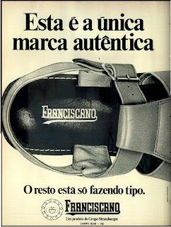 anúncio sandálias masculinas marca franciscano de 1974
