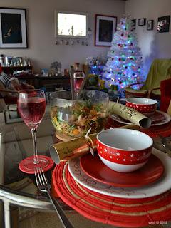 christmas table with three meat christmas salad 2015