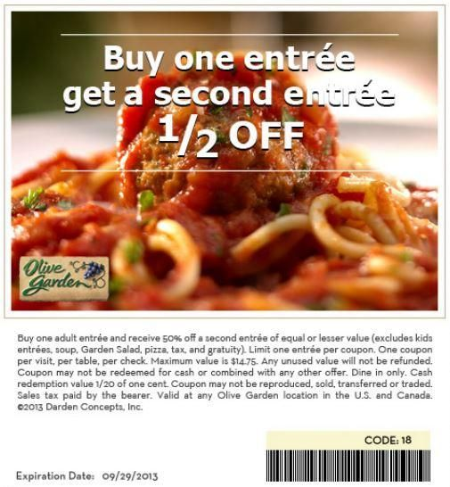 Missy Coupons Olive Garden Buy One Get One 1 2 Off