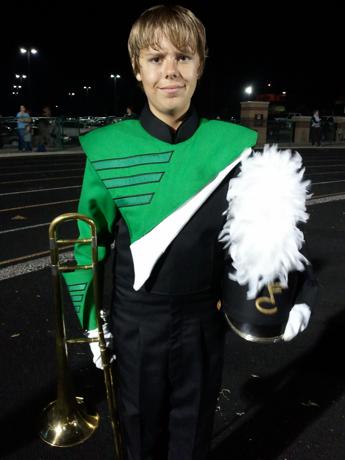 The Teen in his marching band uniform