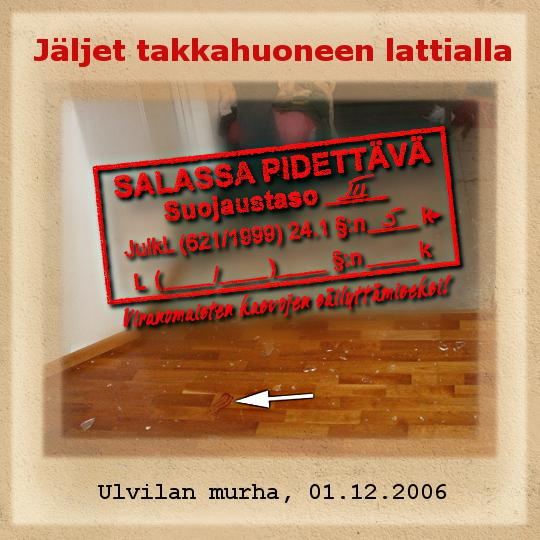 """Kuva: Ulvilan murha - """"Puuttuvat"""" kengänjäljet takkahuoneen lattialla"""