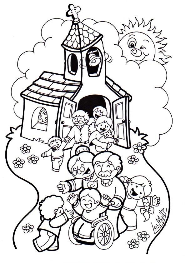 Excepcional Páginas Para Colorear Para Iglesia Para Niños Viñeta ...