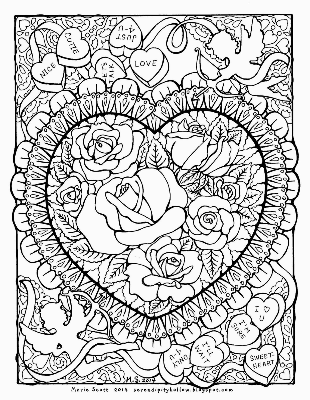 Free Hearts And Roses Coloring Pages