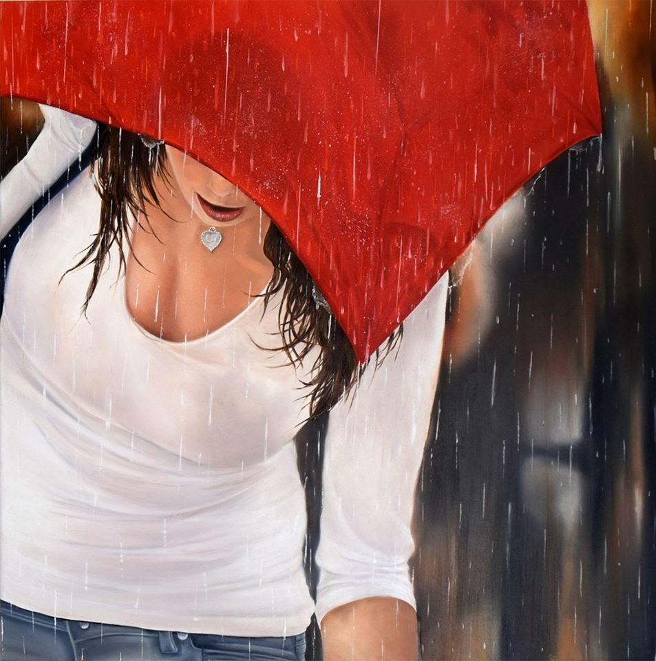 Marie Claire Houmeau Le parapluie rouge