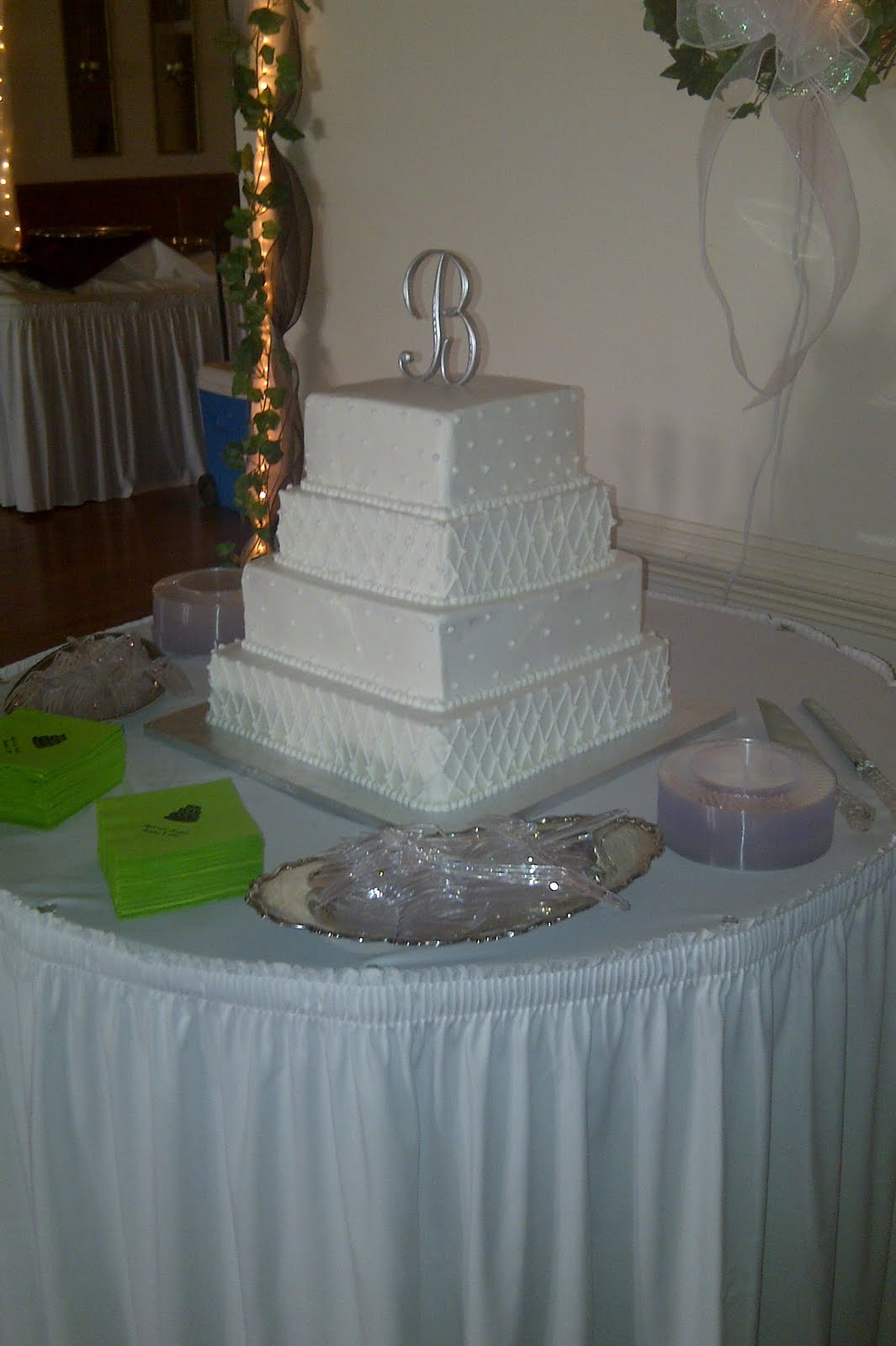 Custom Cakes by Christy 4 Tier Square White Wedding Cake