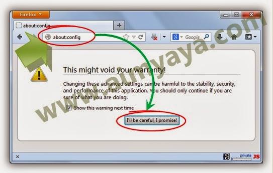 Gambar: Mengatur setting/konfigurasi Mozilla Firefox secara langsung