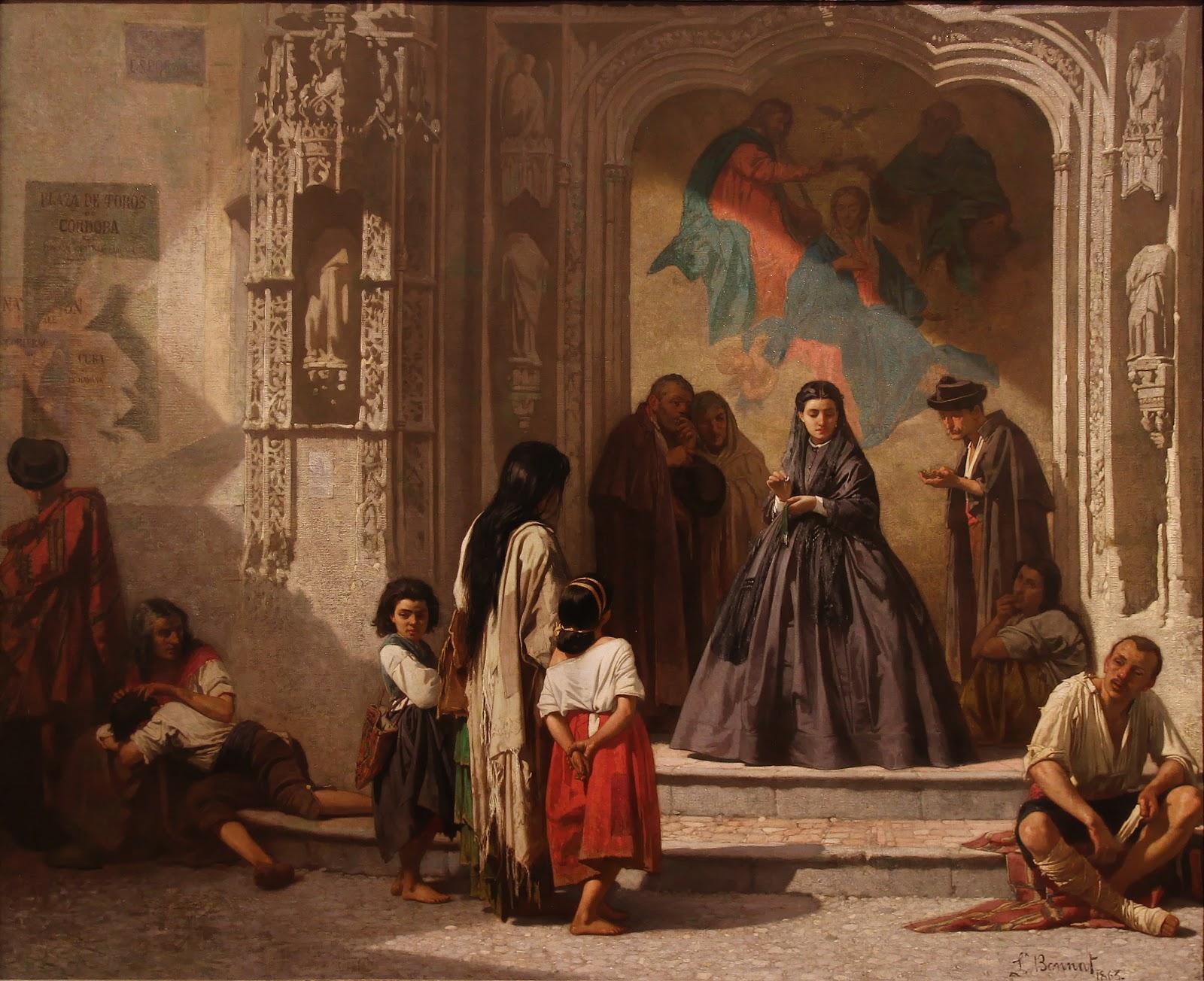 Leon  onnat Jeune femme faisant la charite a l entree de la chapelle de l hopital San Sebastian a Cordoue Musee Goya