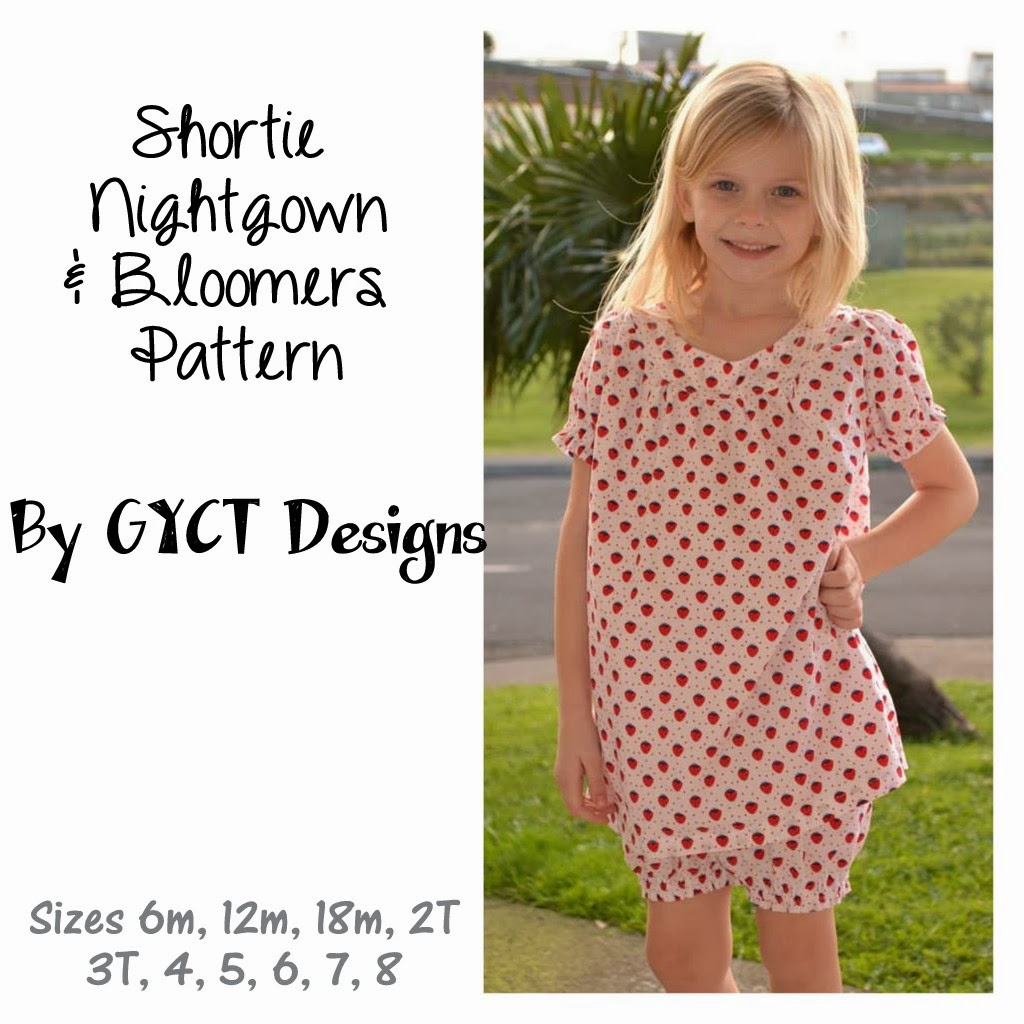 Shortie Nightgown & Bloomers Pattern by GYCT Designs