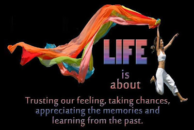 Life is about trusting our feeling, taking chances, appreciating the memories and learning from the past.