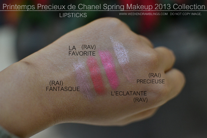 Printemps Precieux de Chanel Spring 2013 Makeup Collection Indian Beauty Blog Darker Skin Swatches Rouge Allure Luminous Intense Velvet Lipsticks Fantasque Leclatante Precieuse La Favorite