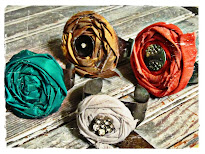 Fabric Rosette Cuff Bracelets