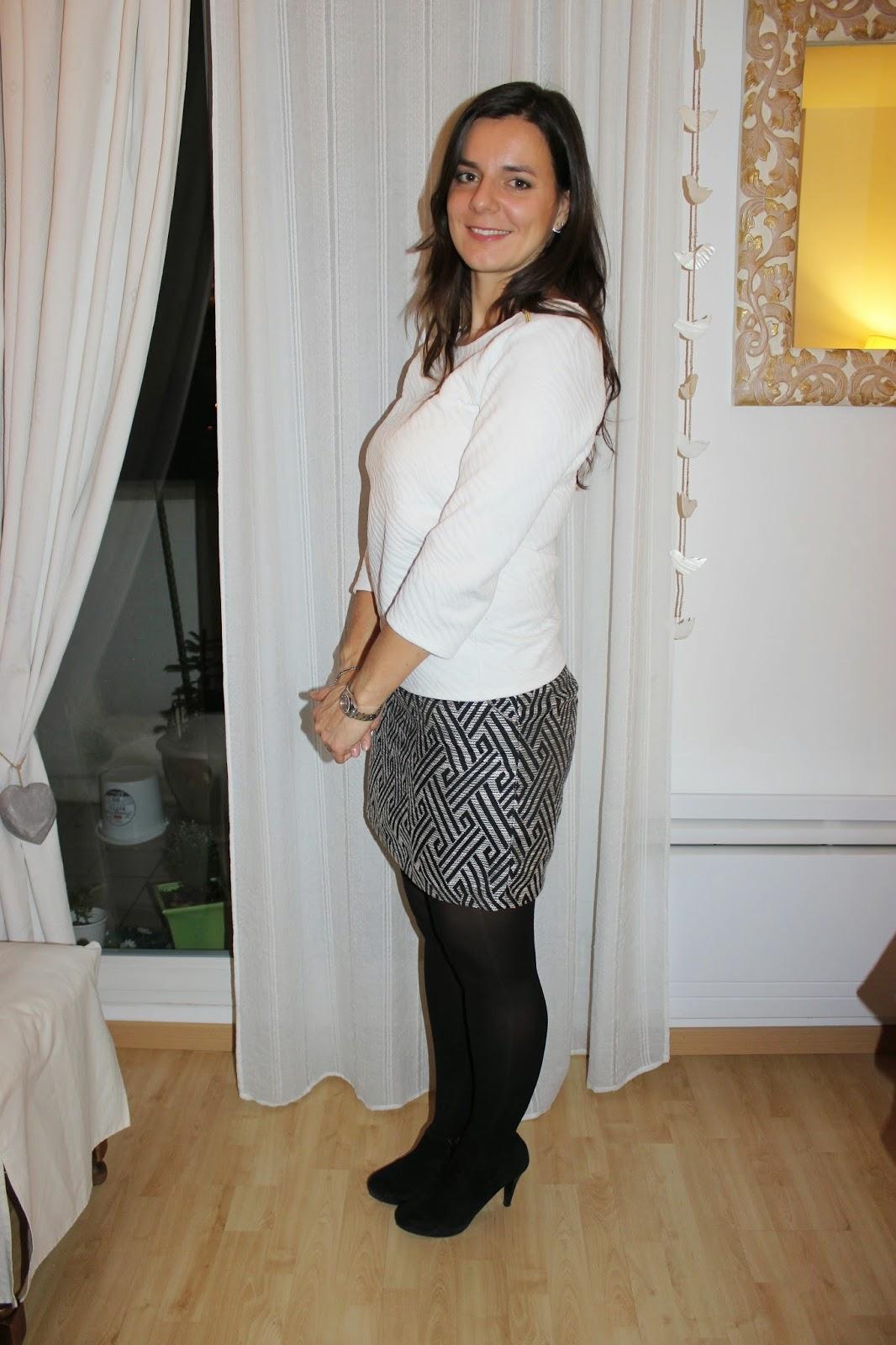 low boots naf naf, jupe grace and mila, top naf naf, Boucle d'oreilles Zara