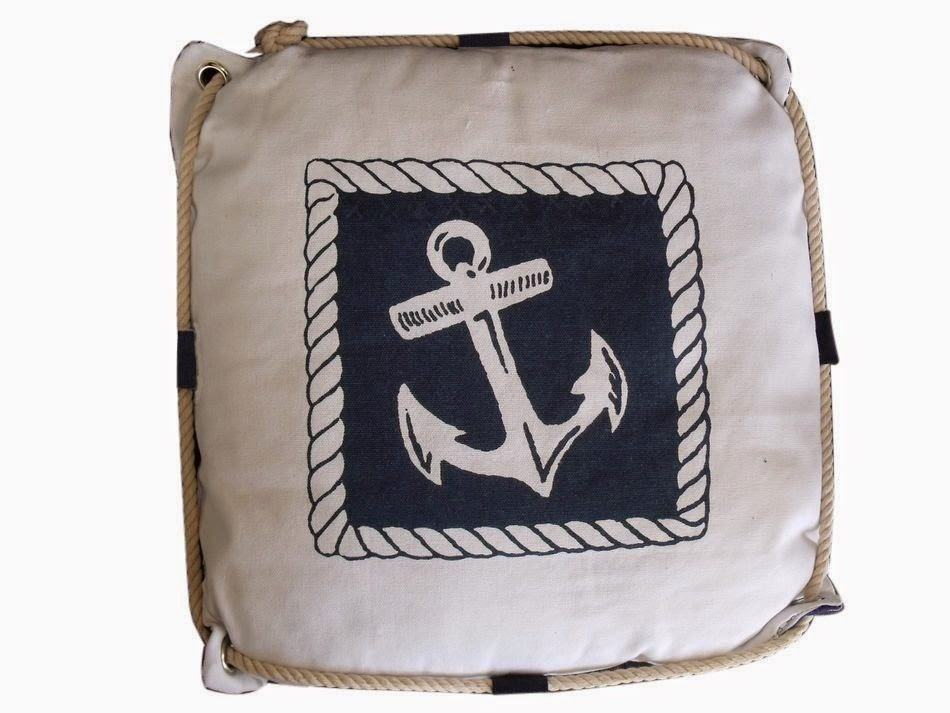 Navy Blue and White Anchor Decorative Nautical Pillow with Rope