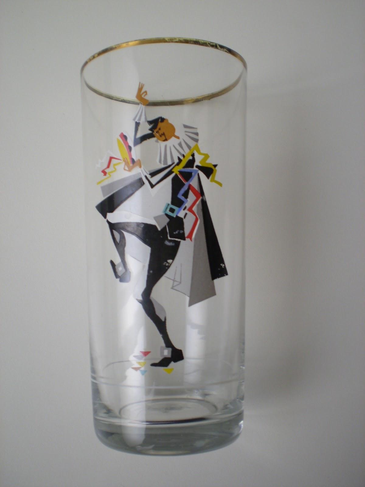 Vintager a vasos c ctel a os 50 con motivos de un grupo for Vasos de coctel
