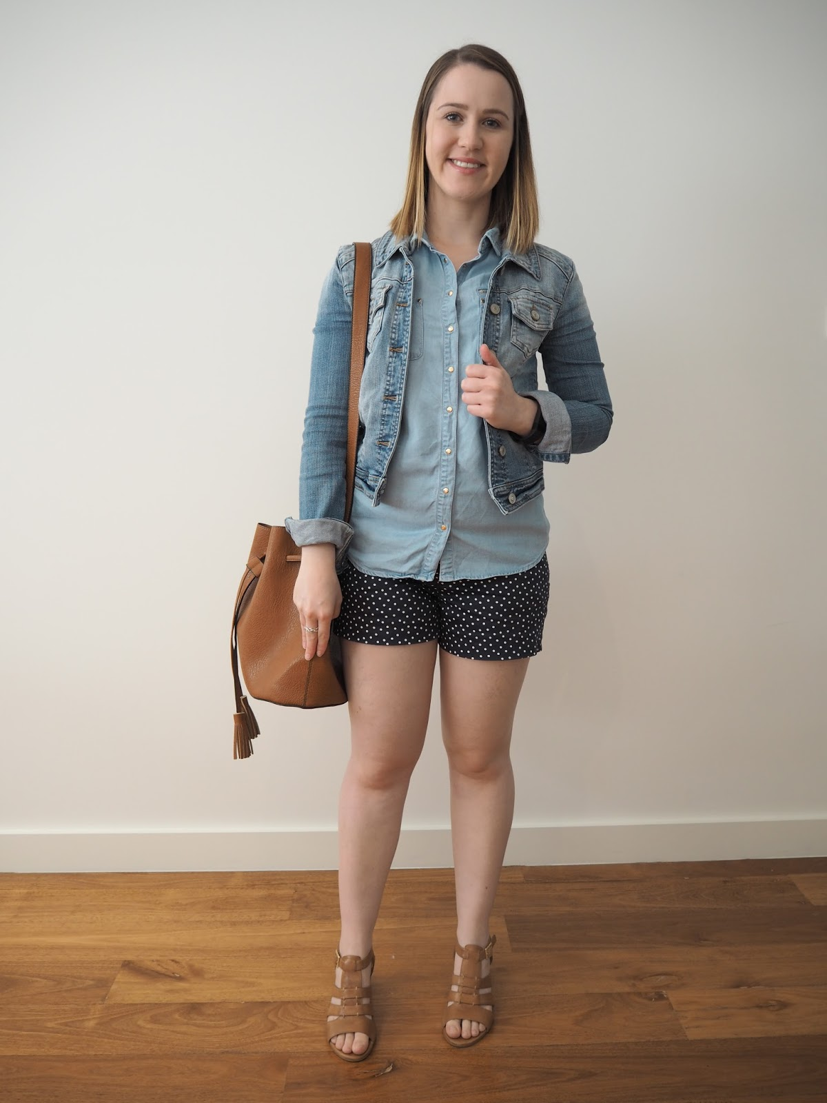 blue high waisted shorts, chambray sleeveless shirt, denim jacket, tan block heel sandals, summer outfit, spring outfit, tan bucket bag