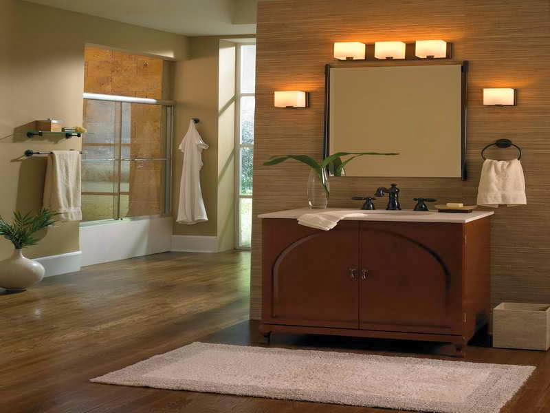 Overhead bathroom lighting fixtures with wall sconces
