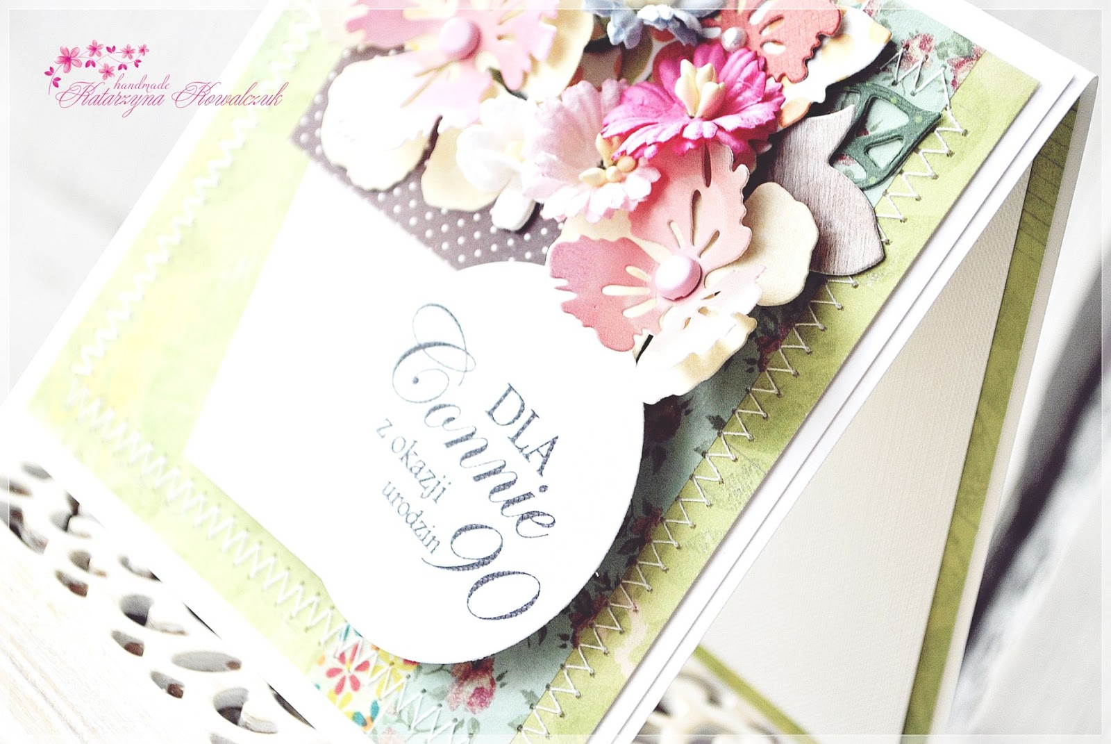 kartka urodzinowa, doniczka z kwiatami scrapbooking