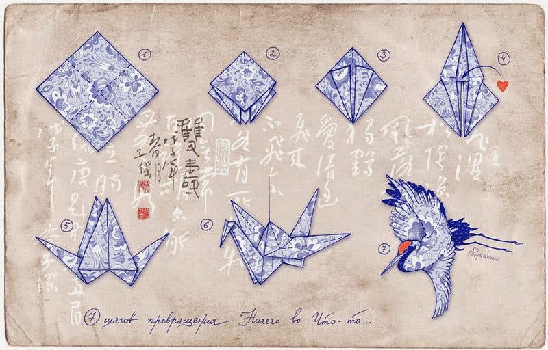 схему оригами журавлика.