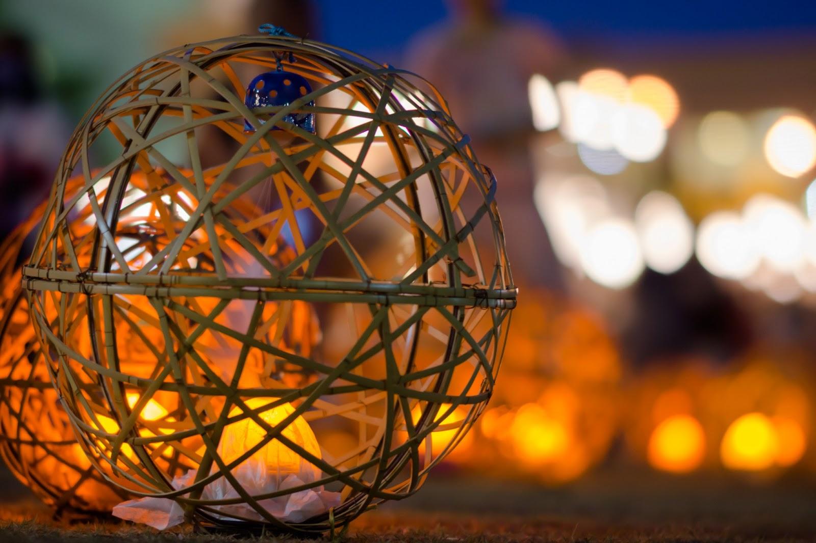 京の七夕、鴨川会場の風鈴灯の写真