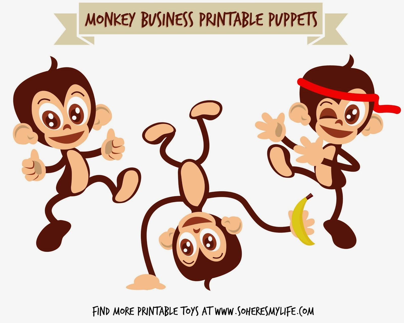Free Monkey Printable Puppets from SoHeresMyLife.com - click through and get them