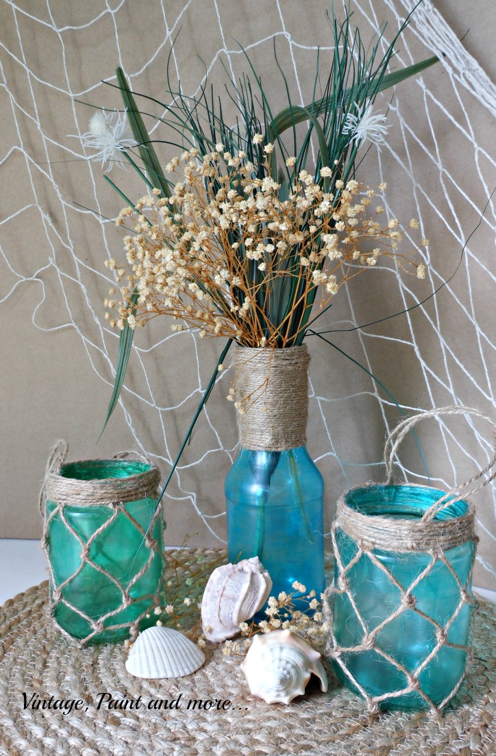 Vintage, Paint and more... painting old jars with mod podge and food coloring to create a faux sea glass effect