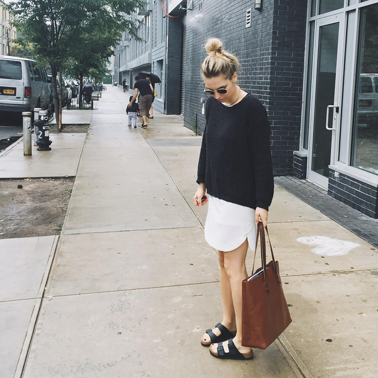Zara grandpa sweater, Ann Taylor dress, Birkenstock Arizona sandals, Whipping Post leather tote