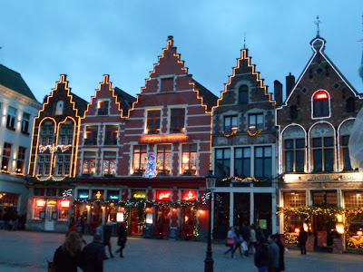 Bruges by night at Christmas time with added fairy lights!