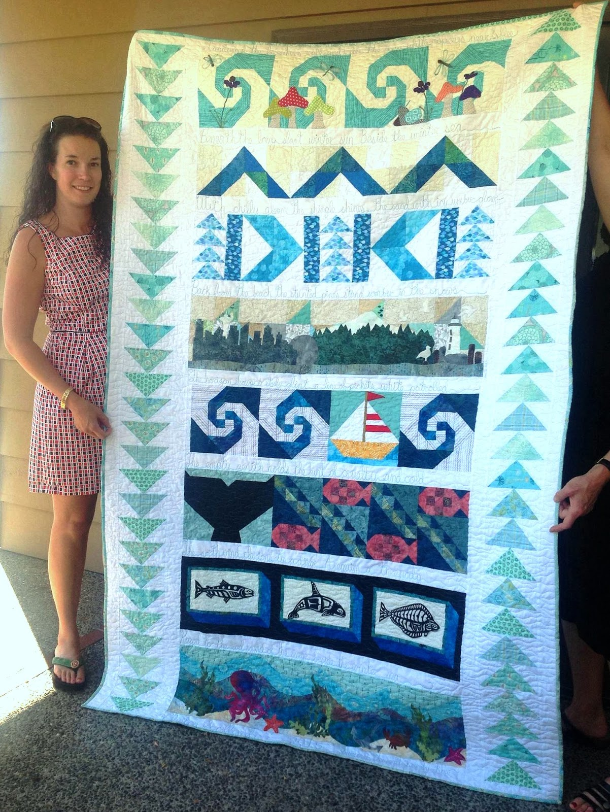 Summers Snippets Row By Row Experience Quilt Completed