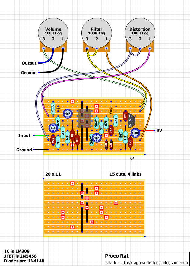 Guitar Fx Layouts Proco Ratrhtagboardeffectsblogspot: Rat Distortion Pedal Schematic At Gmaili.net