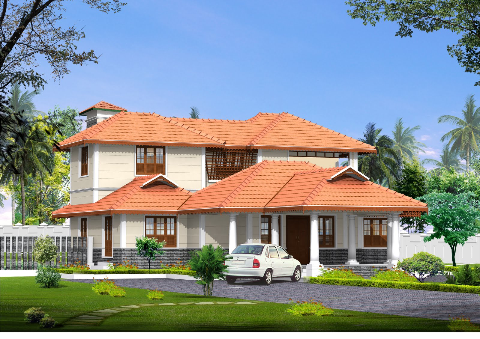 3D view and Floor plan of 3 Bedroom House From Engineer Jijeesh .