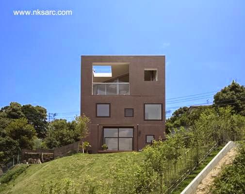 Casa cúbica de concreto contemporánea japonesa