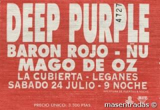 entrada de concierto de deep purple