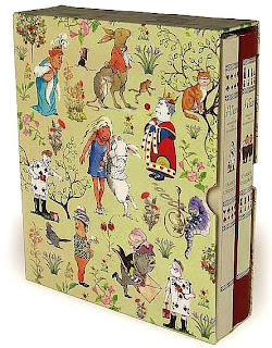 photograph of two Alice books illustrated by Helen Oxenbury in a slipcase