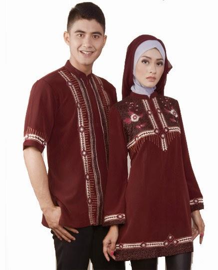 Gambar busana muslim couple merah trendy