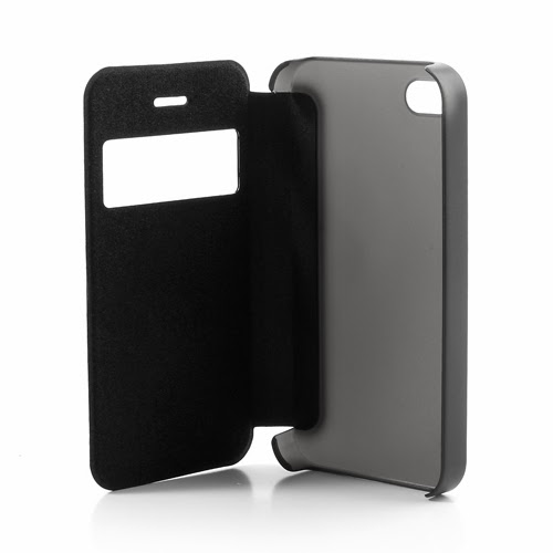 Window View Leather Flip Cover with Transparent Back Case for iPhone 4 4S - Black