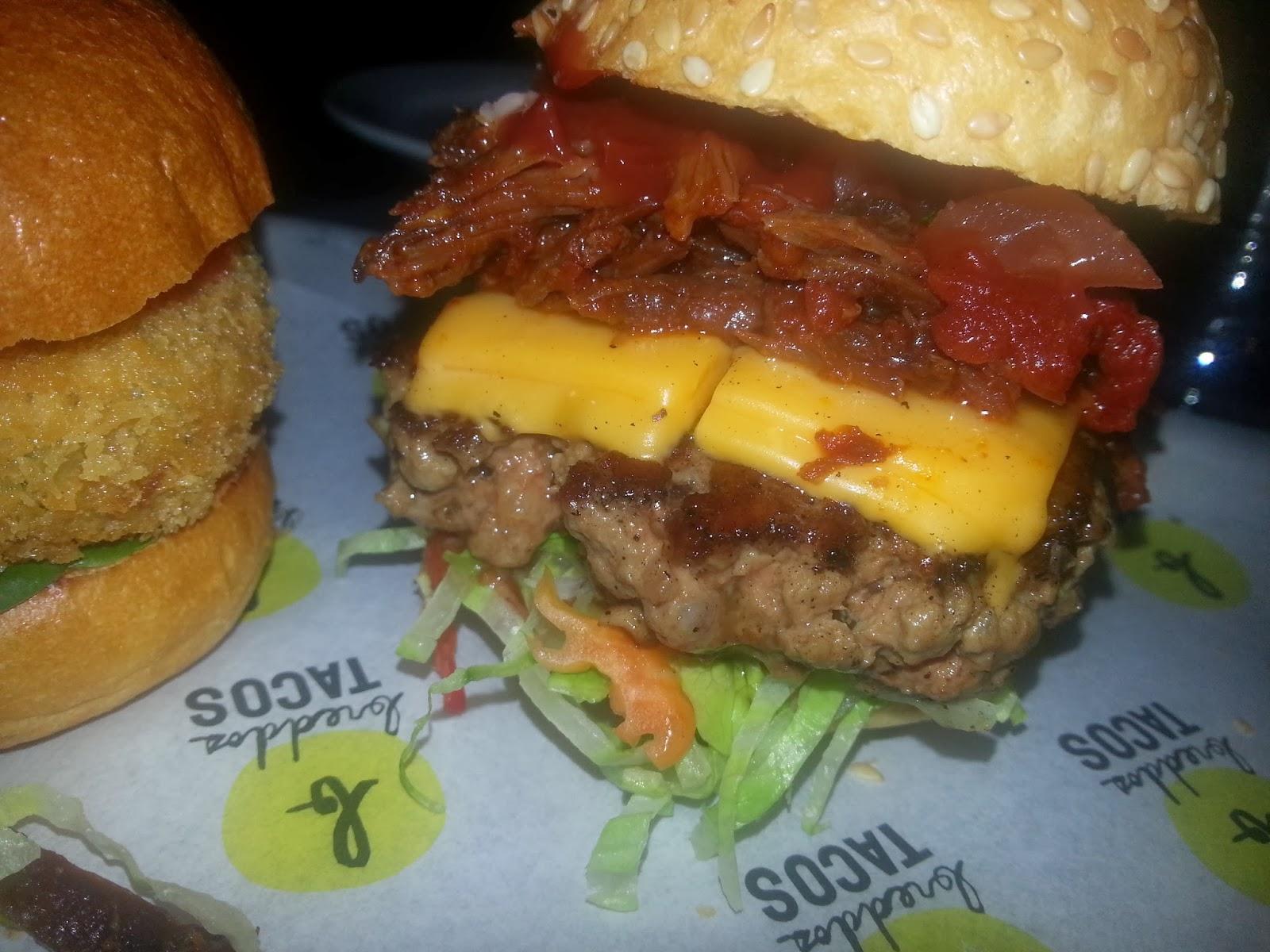Breddos short rib habanero burger.
