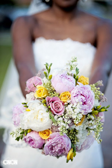 Pink and Yellow Bouquet, Peonies, rice flower, roses, freesia, brunia, dusty miller, lace ribbon, Isha Foss Events