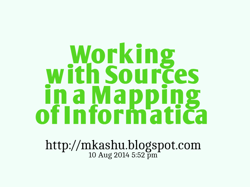 Working with Sources in a Mapping