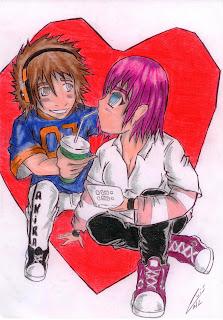 Namorados: menino dando refrigerante para menina (desenho)