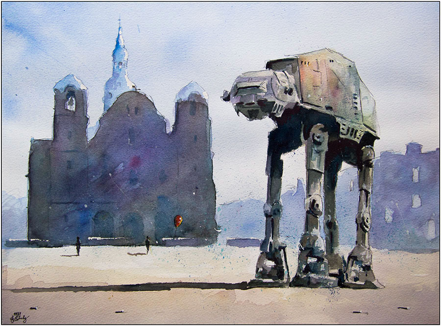 09-AT-AT-All-Terrain-Armored-Transport-Grzegorz-Chudy-Paintings-of-Star-Wars-worlds-in-Watercolors-www-designstack-co