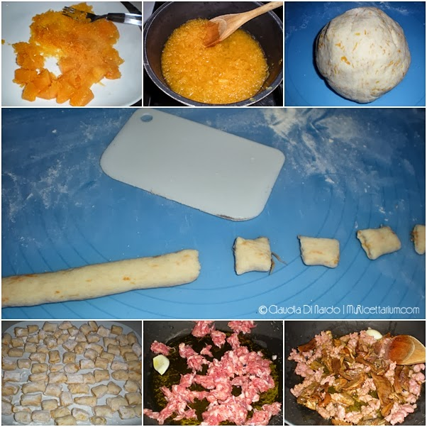 Gnocchi di zucca con salsiccia e porcini