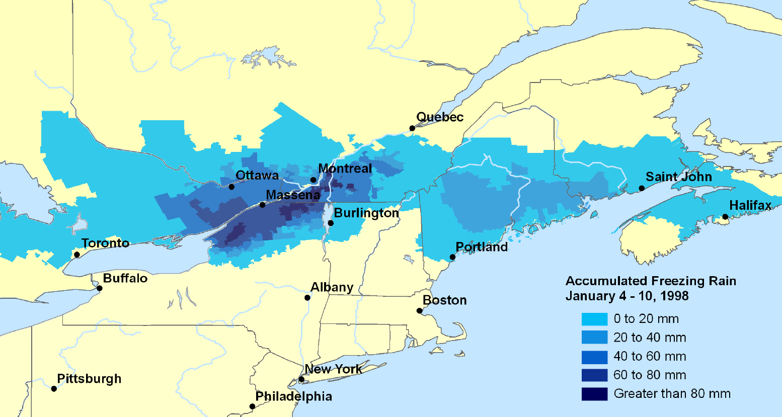 map of the areas affected by the great ice storm of 1998