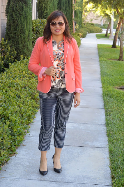 Fashion Over 40, Pattern mixing, stripes & floral