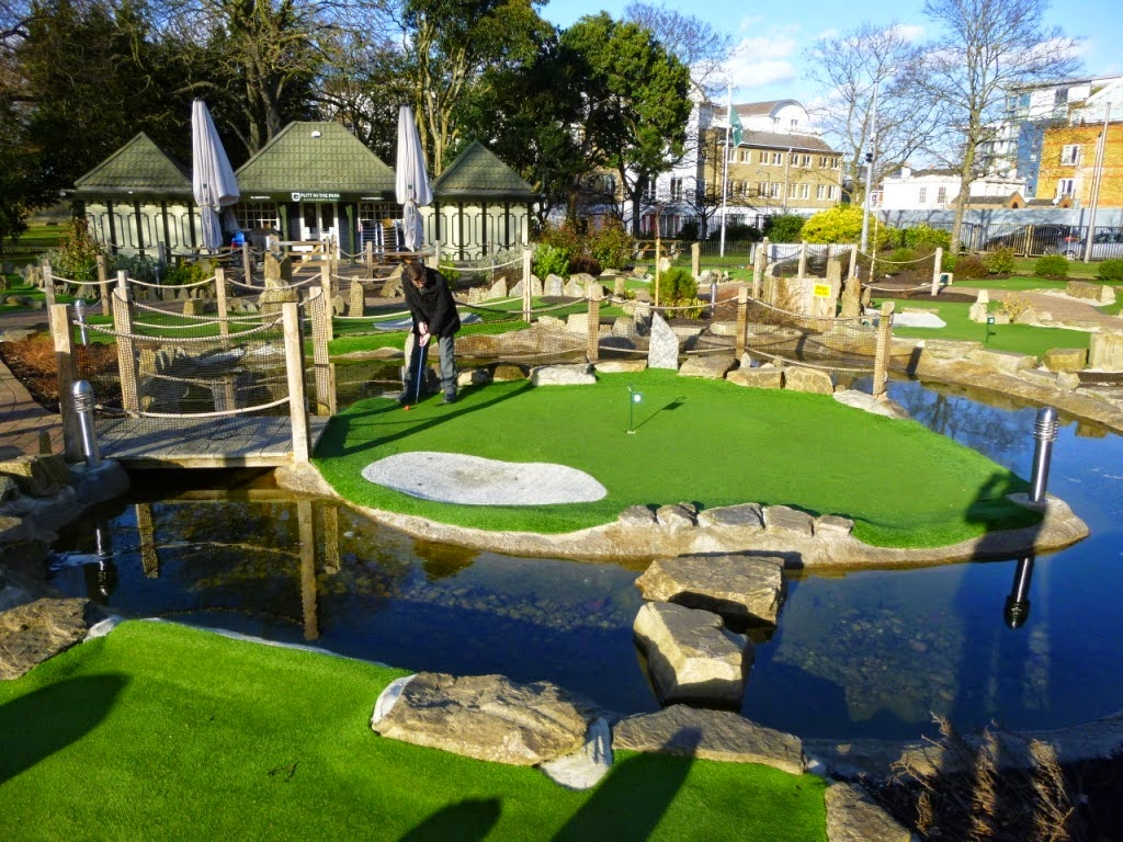 Minigolf at Putt in the Park, Wandsworth, London. A similar course is being built in Battersea Park