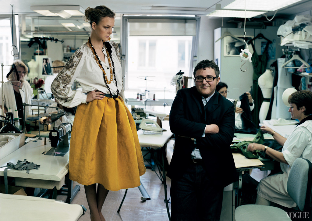 Alber Elbaz & Caroline Trentini photographed by Annie Lebovitz at Lanvin atelier for Vogue US September 2004
