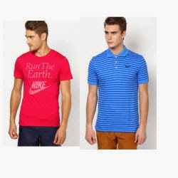 Buy Nike Men's Polos and Tees Buy 1 Get 1 Free + 5% off from Rs.1195 – Jabong